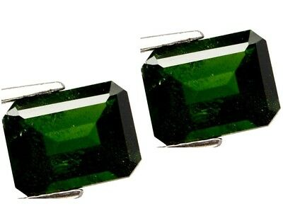 NATURAL EMERALD-CUT GREEN CHROME DIOPSIDE GEMSTONE LOOSE 2 pieces - 9.1 x 7 mm.