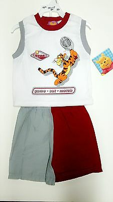 2 Piece Set Authentic Walt Disney Winnie the Pooh Top and Shorts 2 pc SET BOYS