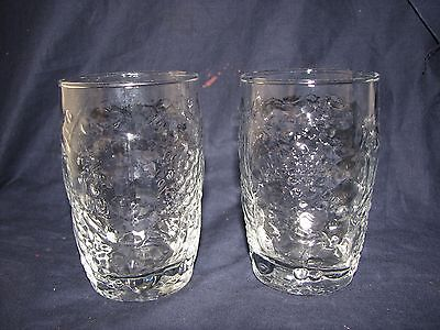 2 Vintage Libbey 8 Oz. Clear Crystal Orchard Fruit Pattern Glass Tumblers 4 1/4""