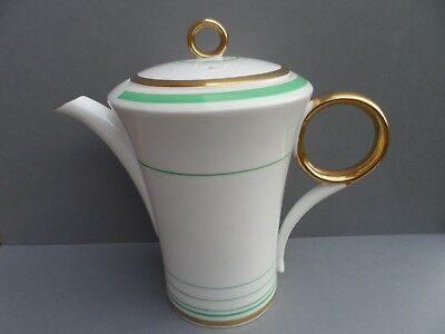 Shelley Art Deco GREEN & GOLD BANDS 12140 Regent shape lidded coffee pot. C.1933