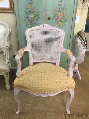 Antique French Country Cane Back Chair ~ Carved Roses ~ Pink Chalk Paint