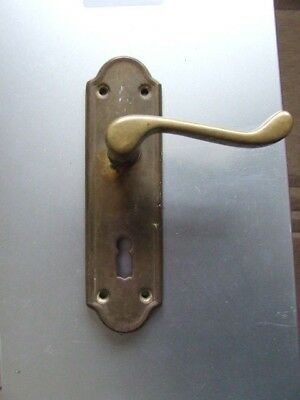 Old Brass Door Handle With Keyhole