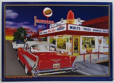 Stop Off on Route 66 Burgers Shakes and More Diner Car Metal Sign