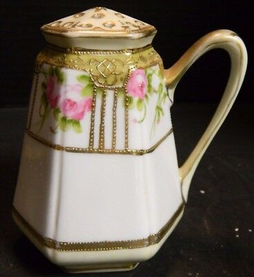 """Vintage Hand Painted Gilded Nippon M Handled Shaker 5"""" x 3.25"""" Excellent Cond"""