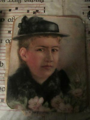 ANTIQUE. ENGLISH WATERCOLOR PAINTING of Victorian Girl
