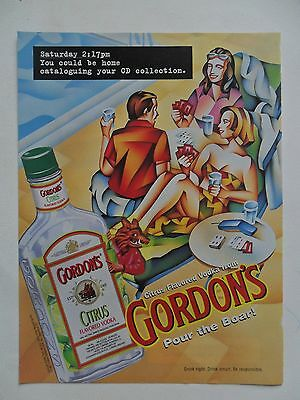 1997 Print Ad Gordon's Vodka ~ Could Catalog Your CD Collection ~ Boar ART