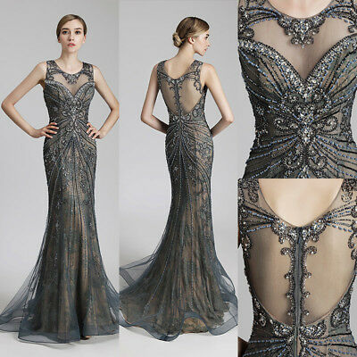 Steel Beaded Prom Evening Women Mermaid Dresses Long Mother of the Bride Gown 14