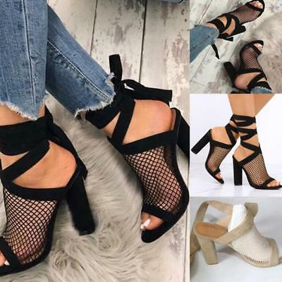 Women Suede Ankle Strap High Heels Clear Back Gladiator Sandals Sexy Shoes New
