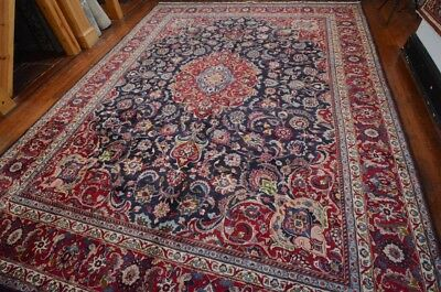 Vintage Persian Classic Floral Design Rug, 10'x13', Blue/Red, All wool pile