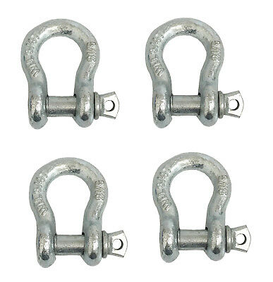"4x 5/16"" Super Strong Anchor Shackle W/Galvanized Screw Pin, 3/4 Ton Load Limit"