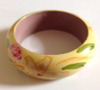 Pretty Floral Vintage Look/Retro/Wooden Bangle/Kitsch/Yellow 70s