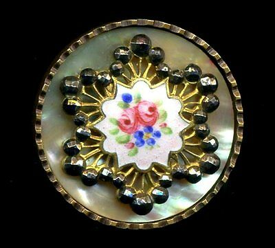 Antique Button...Large Gorgeous Enamel & Cut Steel Over Pearl Background...Roses