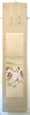 "Antique Japanese Hanging Scroll~Signed~Beauty~Silk/paper~In Box~87"" L"
