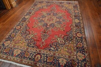 Vintage Persian Classic Floral Design Rug, 7'x9', Red/Blue, All wool pile