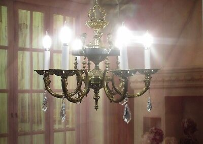Antique Vintage Style  Chandelier Mermaid Brass  Marble Light Fixture Cast Iron