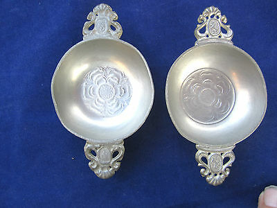 Antique Pewter Pair Of 2 Handled Porringers--Hallmarked-Raresmall Size
