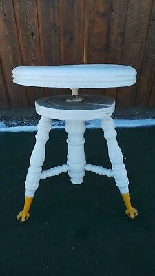 VICTORIAN Antique Wood PIANO STOOL Adjustable Height Beautiful Legs