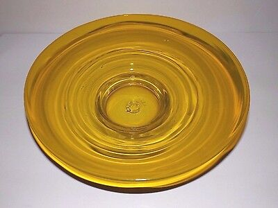 "Vintage Blenko Jonquil Yellow Art Glass Bowl Large 12""  center Piece Signed"
