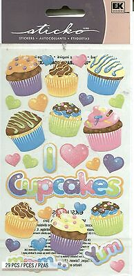 CUPCAKES Cupcake Yum Love Heart Dessert Sweet Party Goodies Sticko Stickers