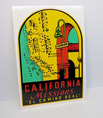 """CALIFORNIA Missions """"El Camino Real"""" Vintage Style Travel DECAL / Vinyl STICKER"""