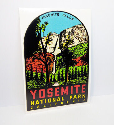 Yosemite National Park, Yosemite Falls Vintage Style Travel Decal, Vinyl Sticker