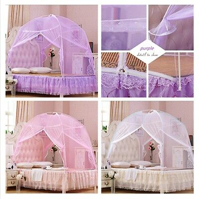 Princess Portable Folding Mosquito Net Lace Tent Cotton Bedcover Queen King AU