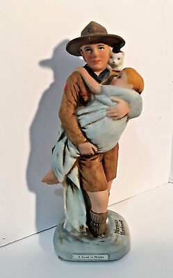 Norman Rockwell Figurine A Scout is Helpful Boy Scouts of America BSA 1981 EUC