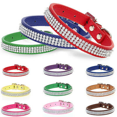 Rhinestone Crystal Bling Band Puppy Dog Cat Pet Collars Collar  Leather Tag