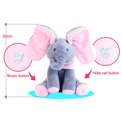 Peek A Boo Stuffed Elephant Plush Singing Move Ears Appease Toys For Children
