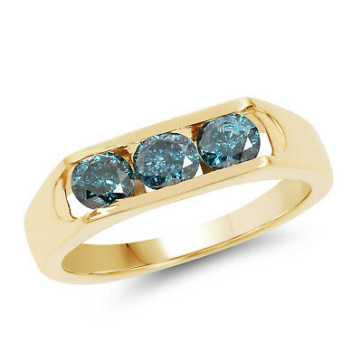 0.90 Ct Genuine Blue Diamond 925 Sterling Silver Wedding Ring in 14K Yellow Gold