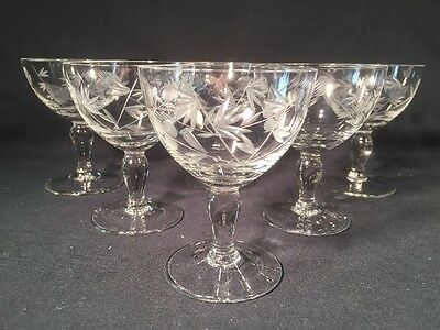 Set Of Six Bohemia Glass Crystal Etched Pattern Glasses (ref W657)