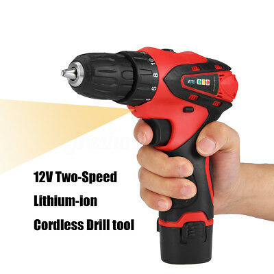12V Cordless Drill Driver Screw Two-Speed Lithium-ion Screwdriver Drilling Tool