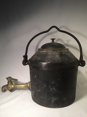 Antique Cast Iron Water Kettle Pot With Brass Tap (ref W778)