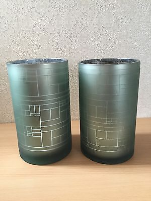 Broste Copenhagen Glass Vases Metallic Green Effect (ref P108)