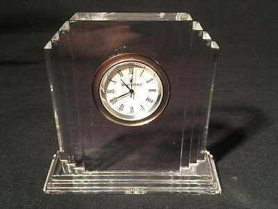 Waterford Crystal Glass Clock Art Deco Style (ref W039)