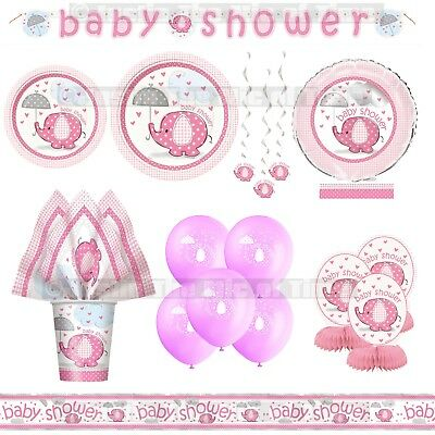 Baby Shower Girl Tableware & Decorations Girls Party Supplies Pink Elephants