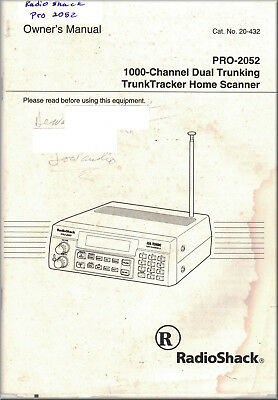 RADIO SHACK Manual PRO-2052 1000-Channel Dual Trunking TrunkTracker Home Scanner