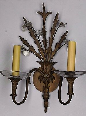 vintage antique cast brass decorative two arm sconce with flower charms
