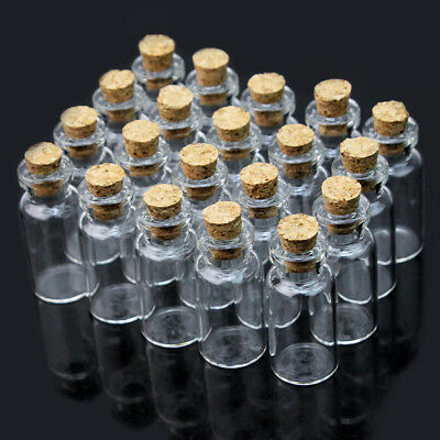 Lots of 20pcs Transparent Clear Glass Wishing Bottles Cork Vial Empty Vials 2ml