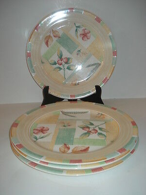 "4 Sango-Garden Cafe 11""  Dinner Plates #3048, from 2005, Yellow, Green, Red, Tan"