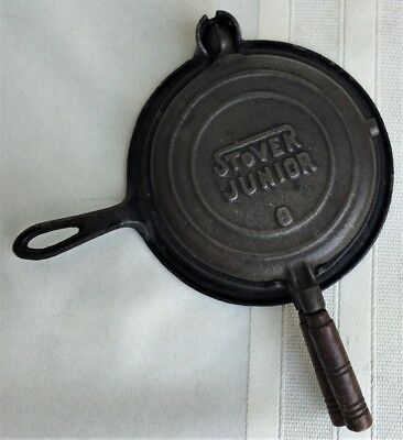 Authentic 1920 Antique Miniature Childs Stover Junior #8 Cast Iron Waffle Iron