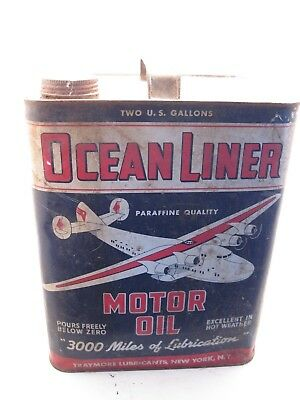 Ocean Liner Oil can with 4 Engine Propeller Air Plane