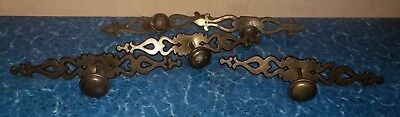 Mixed Lot of 5 Vintage Brass Tone Drawer Pulls & Backplates