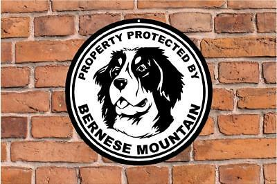 Property protected by Bernese Mountain guard dog yard fence round metal sign