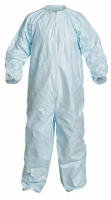 Dupont Collared Disposable Coveralls with Elastic Cuff, Blue, XL, Tyvek