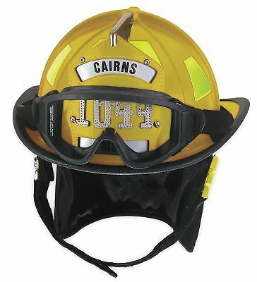 Cairns Yellow Fire Helmet, Shell Material: Fiberglass, Ratchet Suspension, Fits