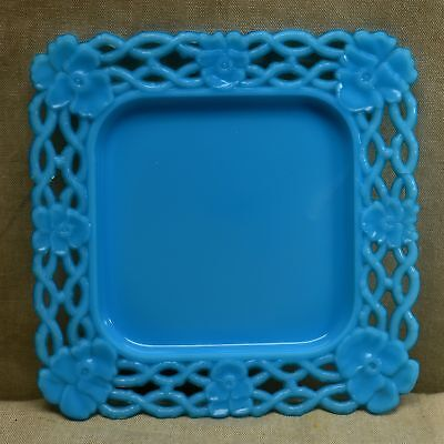 "Early CANTON GLASS CO. BLUE LACE EDGE 8 3/8"" SQUARE PANSY PLATE - 19th C"