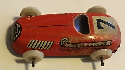 1940s Vintage Tin Lithograph Red RACE CAR U.S. Zone Germany Signed
