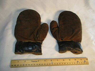 Antique Boxing Glove Kids Size Brown Leather Lace Up Vintage Fight Club Gear