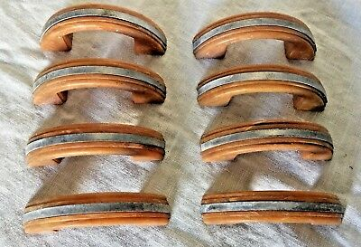 Set Of 8 Vintage Beige Celluloid Drawer Cabinet Pulls Aluminum Strip Art Deco